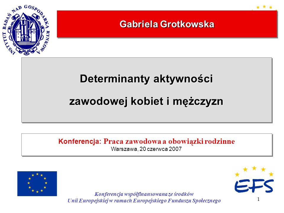 1 Gabriela Grotkowska Determinanty aktywności zawodowej kobiet i mężczyzn Determinanty aktywności zawodowej kobiet i mężczyzn Konferencja: Praca zawod