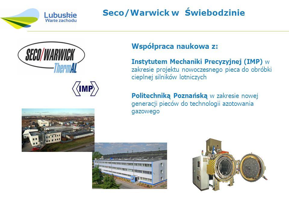 Seco/Warwick w Świebodzinie Instytutem Mechaniki Precyzyjnej (IMP) w zakresie projektu nowoczesnego pieca do obróbki cieplnej silników lotniczych Współpraca naukowa z: Politechniką Poznańską w zakresie nowej generacji pieców do technologii azotowania gazowego