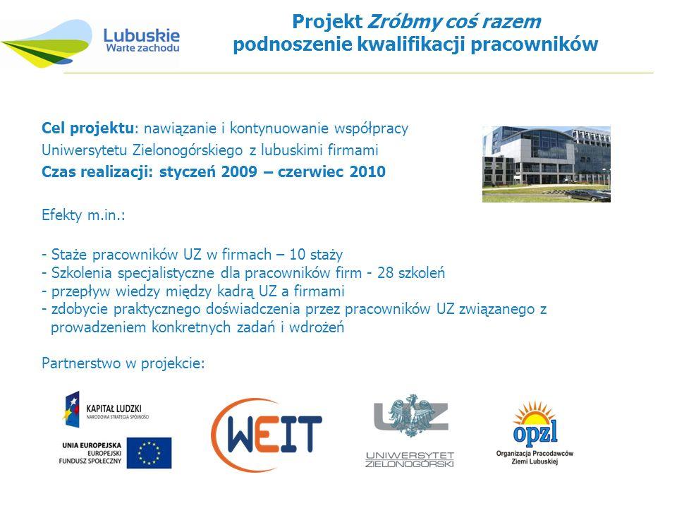 Projekt Zróbmy coś razem podnoszenie kwalifikacji pracowników Cel projektu: nawiązanie i kontynuowanie współpracy Uniwersytetu Zielonogórskiego z lubu