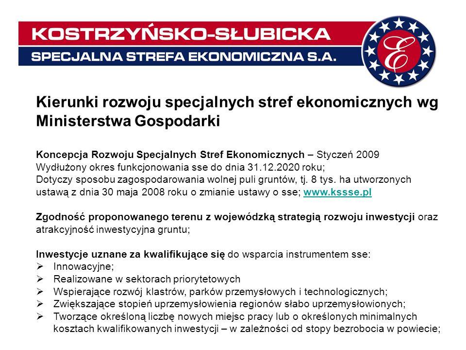 Kierunki rozwoju specjalnych stref ekonomicznych wg Ministerstwa Gospodarki Koncepcja Rozwoju Specjalnych Stref Ekonomicznych – Styczeń 2009 Wydłużony