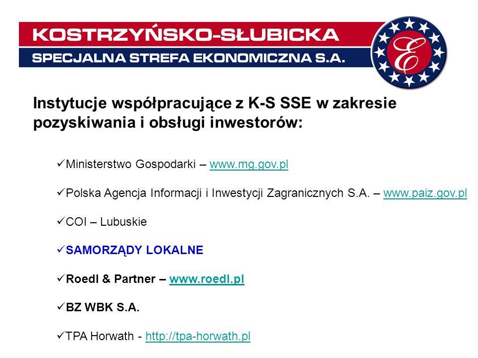 Instytucje współpracujące z K-S SSE w zakresie pozyskiwania i obsługi inwestorów: Ministerstwo Gospodarki – www.mg.gov.plwww.mg.gov.pl Polska Agencja