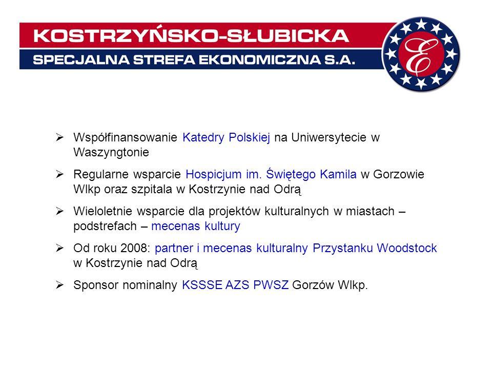 Współfinansowanie Katedry Polskiej na Uniwersytecie w Waszyngtonie Regularne wsparcie Hospicjum im. Świętego Kamila w Gorzowie Wlkp oraz szpitala w Ko