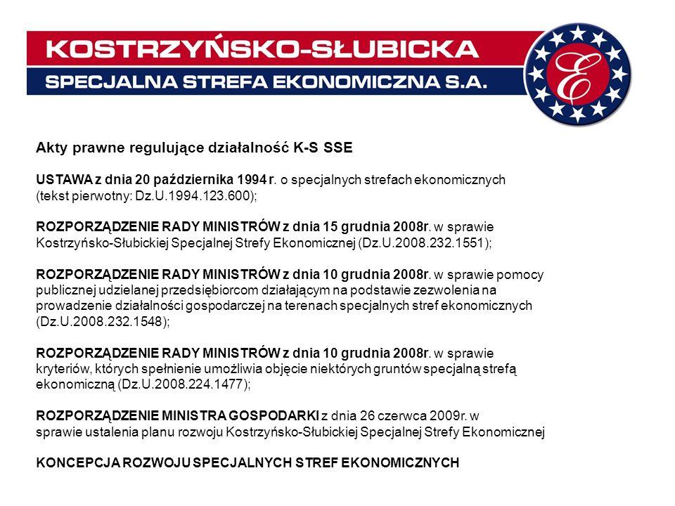 Akty prawne regulujące działalność K-S SSE USTAWA z dnia 20 października 1994 r. o specjalnych strefach ekonomicznych (tekst pierwotny: Dz.U.1994.123.