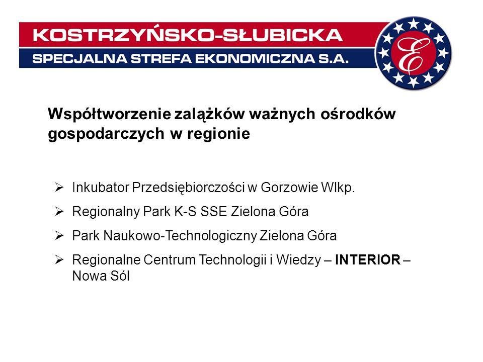 Współpraca regionalna przy pozyskiwaniu środków na rozwój infrastruktury technicznej Gubin: budowa dróg i infrastruktury (współpraca miasta Gubin + K-S SSE S.A.) Kostrzyn nad Odrą: droga powiatowa nr 1382F na odcinku od osiedla Drzewice do osiedla Szumiłowo (miasto Kostrzyn nad Odrą + zarząd powiatu + K-S SSE S.A.) Gospodarka wodami opadowymi w Nowej Soli (K-S SSE S.A.
