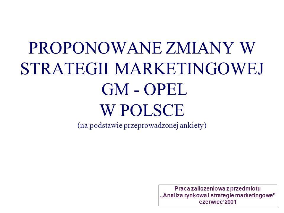 PROPONOWANE ZMIANY W STRATEGII MARKETINGOWEJ GM - OPEL W POLSCE (na podstawie przeprowadzonej ankiety) Praca zaliczeniowa z przedmiotu Analiza rynkowa