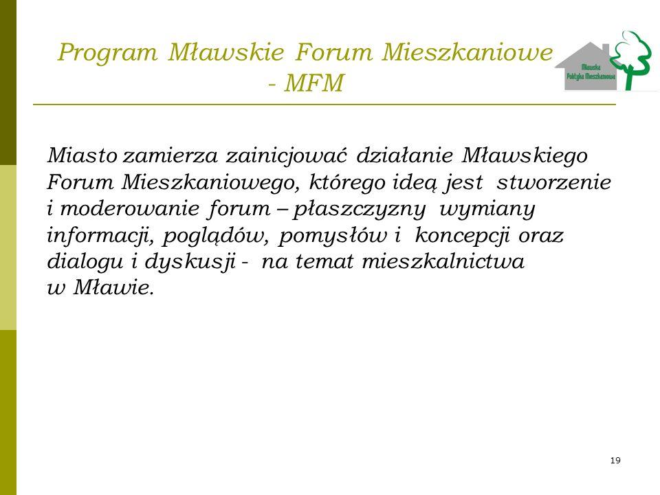 Program Mławskie Forum Mieszkaniowe - MFM Miasto zamierza zainicjować działanie Mławskiego Forum Mieszkaniowego, którego ideą jest stworzenie i modero