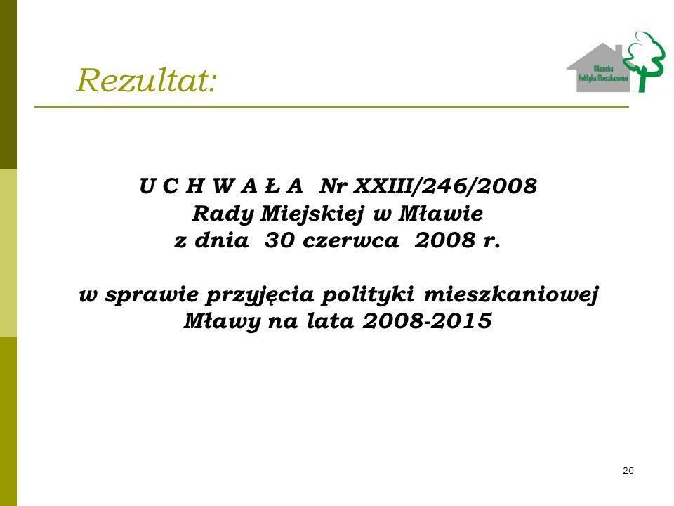 Rezultat: U C H W A Ł A Nr XXIII/246/2008 Rady Miejskiej w Mławie z dnia 30 czerwca 2008 r. w sprawie przyjęcia polityki mieszkaniowej Mławy na lata 2