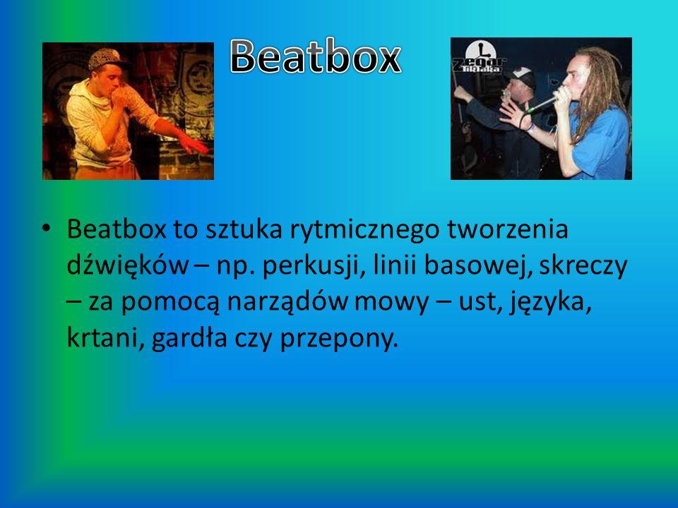 Beatbox to sztuka rytmicznego tworzenia dźwięków – np. perkusji, linii basowej, skreczy – za pomocą narządów mowy – ust, języka, krtani, gardła czy pr