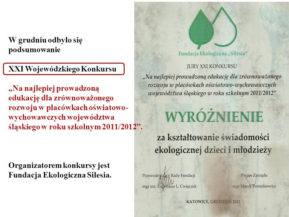 W grudniu odbyło się podsumowanie XXI Wojewódzkiego Konkursu Na najlepiej prowadzoną edukację dla zrównoważonego rozwoju w placówkach oświatowo- wycho