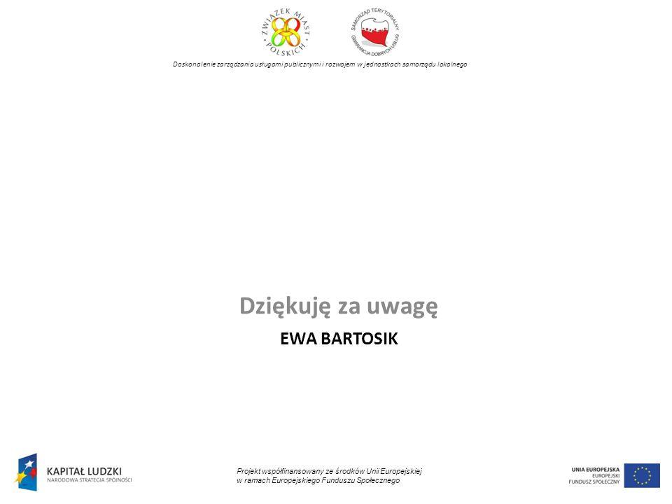 EWA BARTOSIK Dziękuję za uwagę Projekt współfinansowany ze środków Unii Europejskiej w ramach Europejskiego Funduszu Społecznego Doskonalenie zarządza