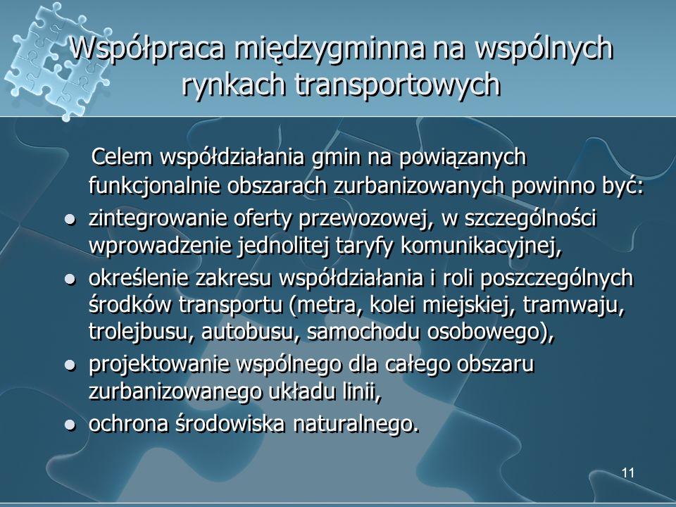 Współpraca międzygminna na wspólnych rynkach transportowych Celem współdziałania gmin na powiązanych funkcjonalnie obszarach zurbanizowanych powinno b
