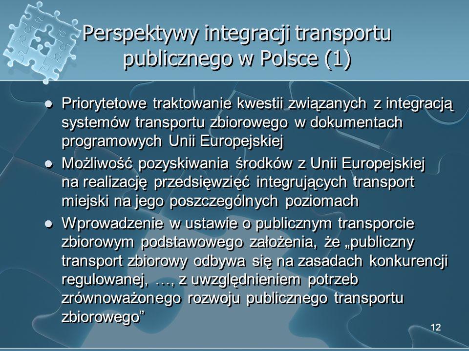 Perspektywy integracji transportu publicznego w Polsce (1) Priorytetowe traktowanie kwestii związanych z integracją systemów transportu zbiorowego w d