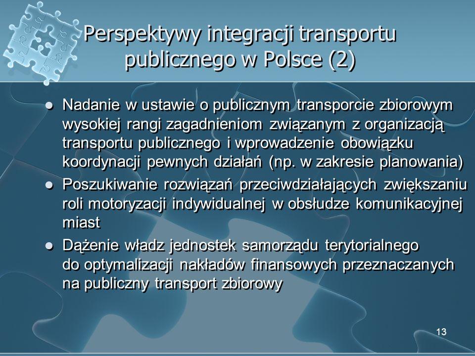 Perspektywy integracji transportu publicznego w Polsce (2) Nadanie w ustawie o publicznym transporcie zbiorowym wysokiej rangi zagadnieniom związanym