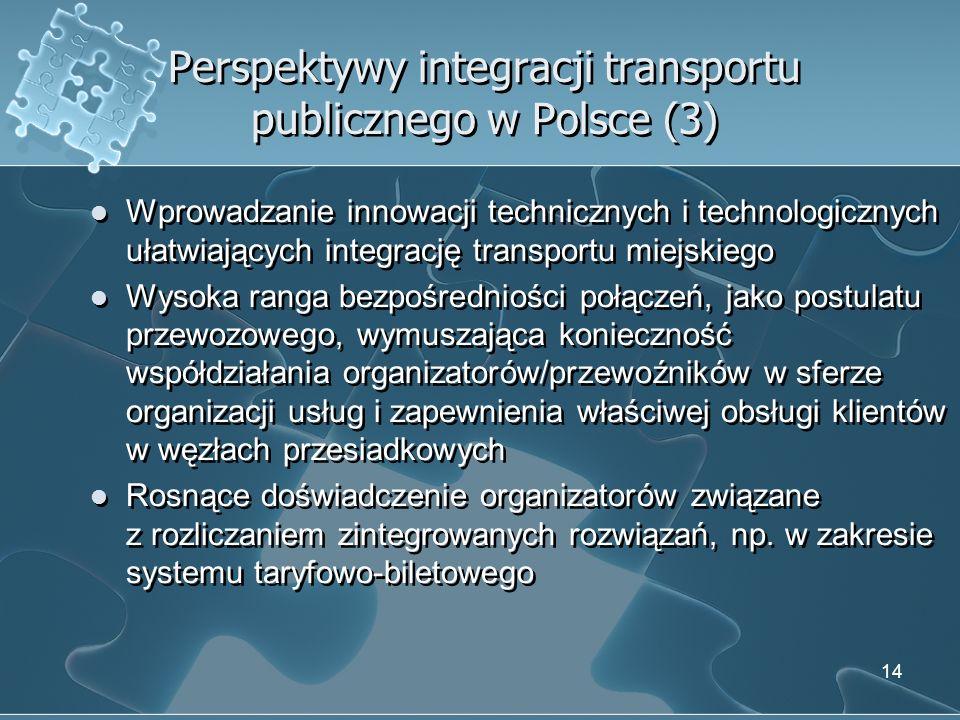 Perspektywy integracji transportu publicznego w Polsce (3) Wprowadzanie innowacji technicznych i technologicznych ułatwiających integrację transportu