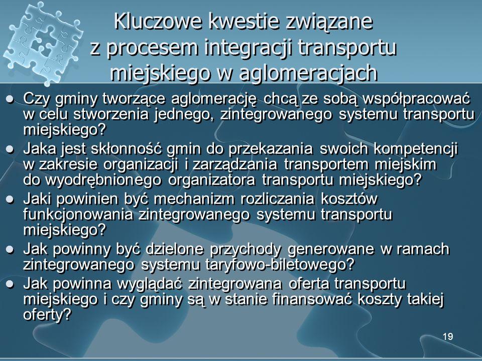 Kluczowe kwestie związane z procesem integracji transportu miejskiego w aglomeracjach Czy gminy tworzące aglomerację chcą ze sobą współpracować w celu