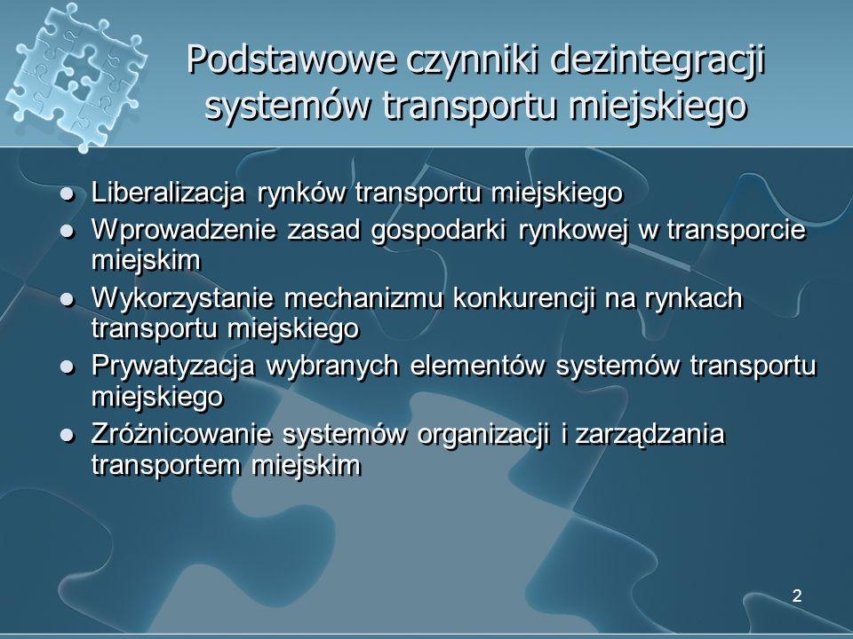 3 Przejawy dezintegracji systemów transportu miejskiego Różne rodzaje taryf stosowane przez organizatorów transportu miejskiego, operatorów i przewoźników Różny poziom opłat za podróże realizowane na tę samą odległość Brak efektywnej koordynacji rozkładów jazdy różnych środków transportu Nieefektywne wykorzystanie potencjału transportowego oraz infrastruktury transportowej Różne rodzaje taryf stosowane przez organizatorów transportu miejskiego, operatorów i przewoźników Różny poziom opłat za podróże realizowane na tę samą odległość Brak efektywnej koordynacji rozkładów jazdy różnych środków transportu Nieefektywne wykorzystanie potencjału transportowego oraz infrastruktury transportowej