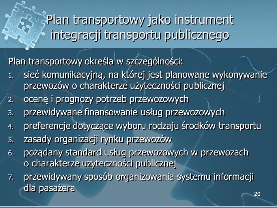 Plan transportowy jako instrument integracji transportu publicznego Plan transportowy określa w szczególności: 1. sieć komunikacyjną, na której jest p