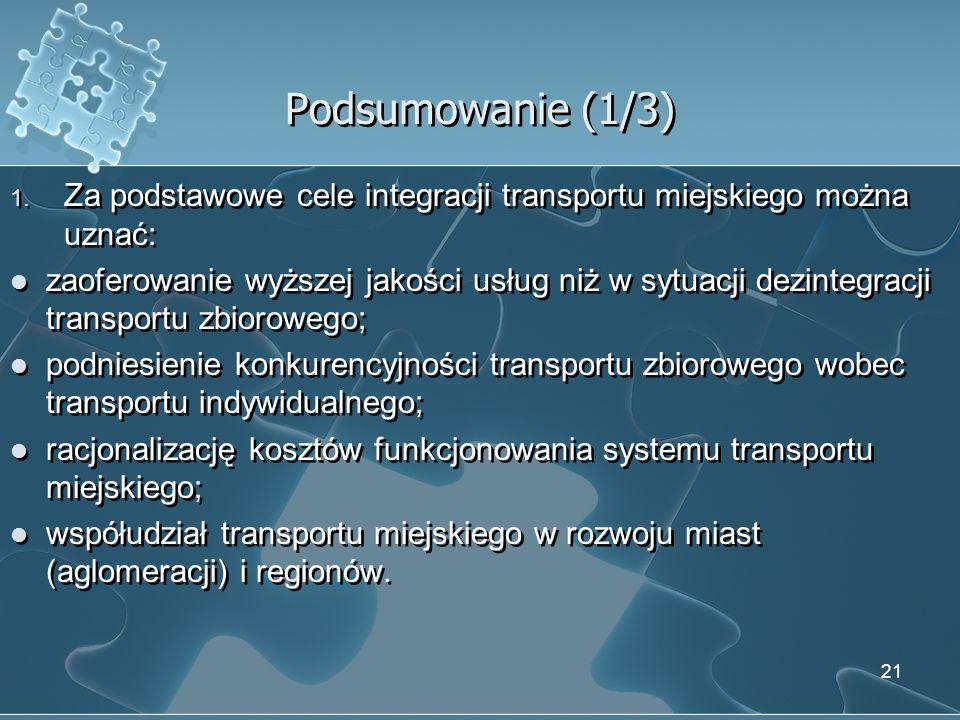 Podsumowanie (1/3) 1. Za podstawowe cele integracji transportu miejskiego można uznać: zaoferowanie wyższej jakości usług niż w sytuacji dezintegracji