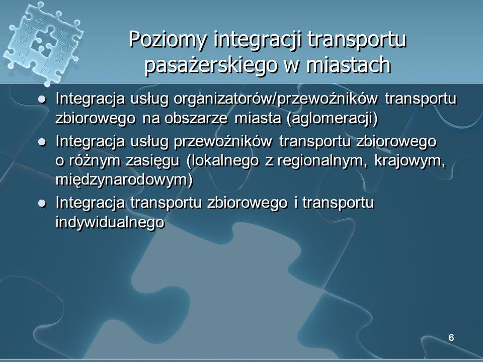 Integracja usług organizatorów/przewoźników transportu zbiorowego na obszarze miasta (aglomeracji) Pełna integracja usług transportu zbiorowego oznacza łączenie ofert poszczególnych organizatorów/przewoźników realizujących przewozy na obszarze miasta (aglomeracji) w jedną ofertę.