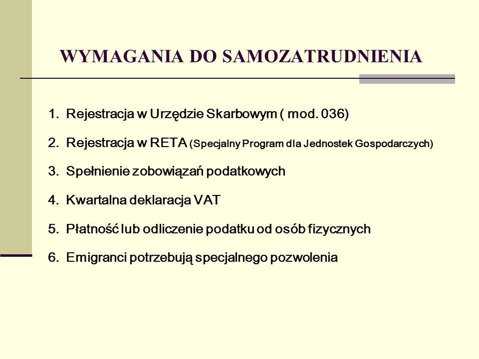 WYMAGANIA DO SAMOZATRUDNIENIA 1.Rejestracja w Urzędzie Skarbowym ( mod.