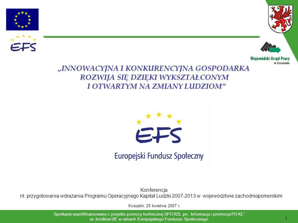 Spotkanie współfinansowane z projektu pomocy technicznej SPO RZL pn.: Informacja i promocja PO KL ze środków UE w ramach Europejskiego Funduszu Społecznego 2 Program Operacyjny Kapitał Ludzki 2007-2013