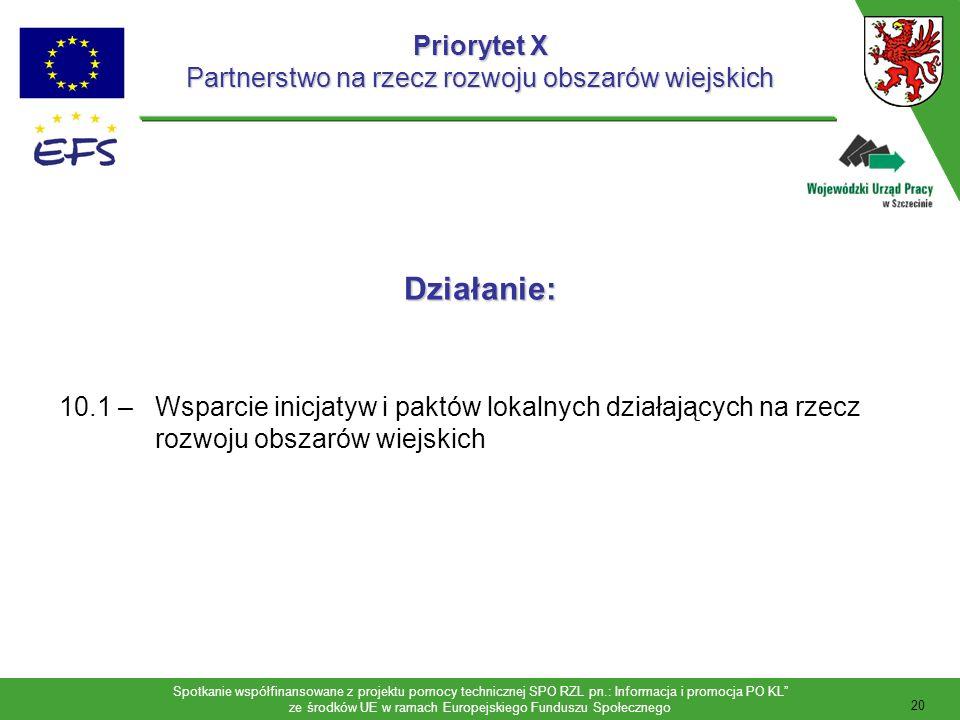 Spotkanie współfinansowane z projektu pomocy technicznej SPO RZL pn.: Informacja i promocja PO KL ze środków UE w ramach Europejskiego Funduszu Społecznego Preferowane projekty Priorytet X projekty priorytetowe: rozwój partnerstw z udziałem izb gospodarczych, przedsiębiorców i ich stowarzyszeń oraz izb rolniczych, organizacji pozarządowych i samorządów