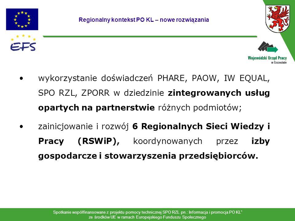 Spotkanie współfinansowane z projektu pomocy technicznej SPO RZL pn.: Informacja i promocja PO KL ze środków UE w ramach Europejskiego Funduszu Społecznego Regionalne Sieci Wiedzy i Pracy: -otwarte, partnerskie sieci instytucji i organizacji koordynowanych przez lokalne izby gospodarcze; -usługi typu one-stop-shop dla przedsiębiorców i osób podnoszących kwalifikacje; -uczestnictwo w regionalnym systemie wsparcia innowacji i przedsiębiorczości; -zakłada się utworzenie sieci na bazie głównych ośrodków rozwoju: - w Szczecinie i Koszalinie (innowacje i i sektor B+R), - w pozostałych częściach województwa kształcenie ustawiczne i zawodowe dostosowane do potrzeb rynku pracy i pracodawców.