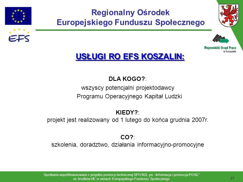 Spotkanie współfinansowane z projektu pomocy technicznej SPO RZL pn.: Informacja i promocja PO KL ze środków UE w ramach Europejskiego Funduszu Społecznego 28 Infopunkt ROEFS: czynny codziennie w godz.