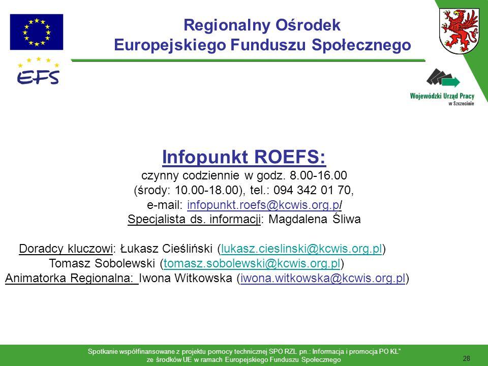 Spotkanie współfinansowane z projektu pomocy technicznej SPO RZL pn.: Informacja i promocja PO KL ze środków UE w ramach Europejskiego Funduszu Społecznego 29 DANE ADRESOWE: Koszalińskie Centrum Wspierania Inicjatyw Społecznych ul.