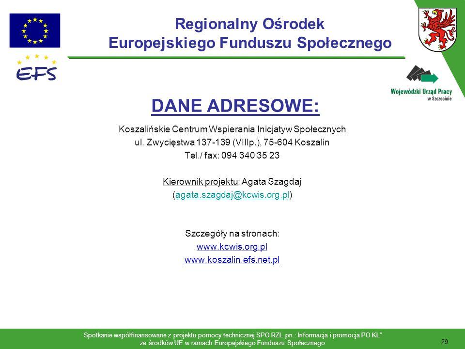 Spotkanie współfinansowane z projektu pomocy technicznej SPO RZL pn.: Informacja i promocja PO KL ze środków UE w ramach Europejskiego Funduszu Społecznego 30 Cel Regionalnego Ośrodka EFS w Szczecinie jest: zwiększenie gotowości i umiejętności potencjalnych projektodawców do udziału w procesie wdrażania EFS; aktywne promowanie wiedzy związanej z EFS oraz zachęcanie lokalnych organizacji i pomaganie im w przygotowywaniu wysokiej jakości projektów z EFS; wsparcie na etapie dojrzewania projektu (identyfikacja problemów z zakresu zasobów ludzkich i sposobów ich rozwiązywania na poziomie lokalnym); uzupełnianie wiedzy o obowiązujących procedurach, wymogach administracyjnych i finansowych EFS oraz formalno-prawnych uwarunkowaniach aplikowania i wdrażania projektów; poszerzanie wiedzy i pogłębianie umiejętności związanych z wdrażaniem tj.