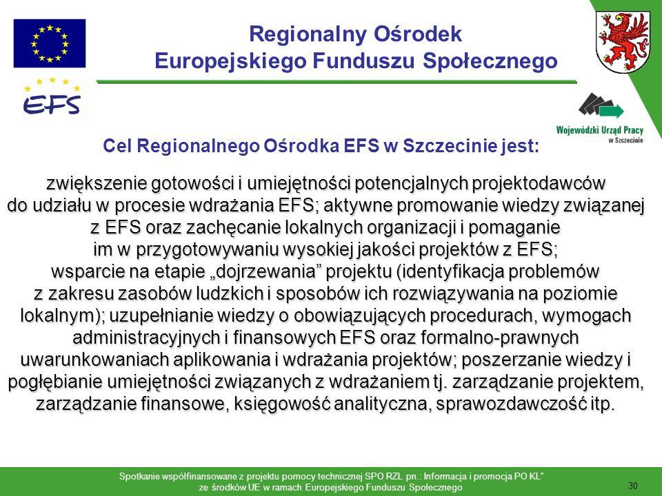 Spotkanie współfinansowane z projektu pomocy technicznej SPO RZL pn.: Informacja i promocja PO KL ze środków UE w ramach Europejskiego Funduszu Społecznego 31 Usługi Regionalnego Ośrodka EFS w Szczecinie obejmują: Usługi Regionalnego Ośrodka EFS w Szczecinie obejmują: 1.