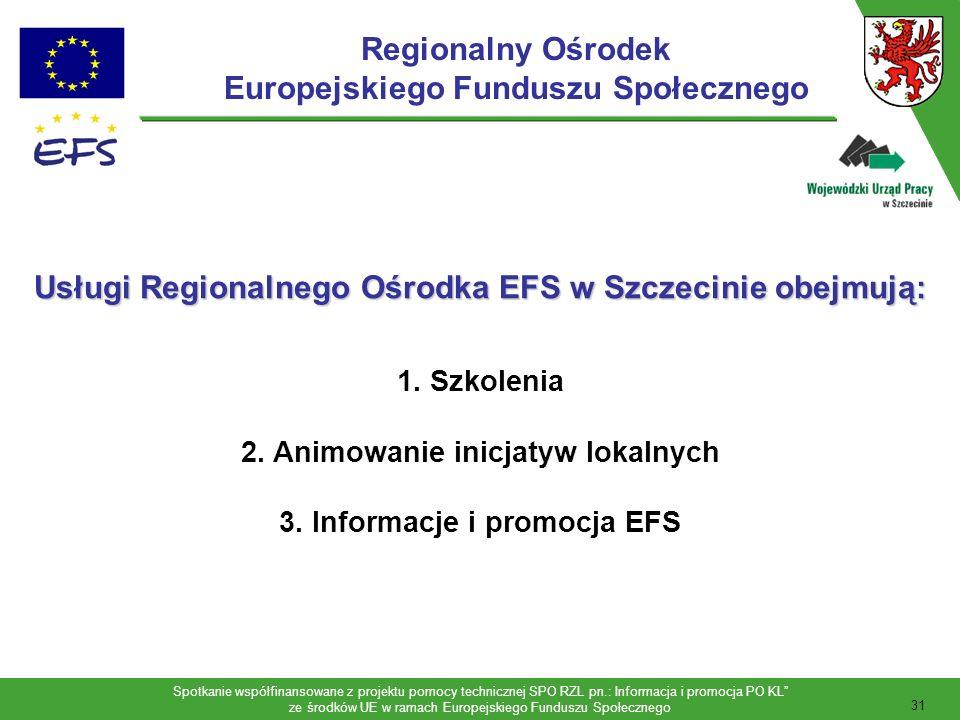 Spotkanie współfinansowane z projektu pomocy technicznej SPO RZL pn.: Informacja i promocja PO KL ze środków UE w ramach Europejskiego Funduszu Społecznego 32 Adresatami działań Regionalnego Ośrodka EFS w Szczecinie są: 1.