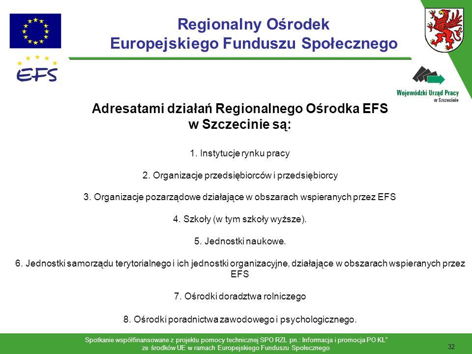 Spotkanie współfinansowane z projektu pomocy technicznej SPO RZL pn.: Informacja i promocja PO KL ze środków UE w ramach Europejskiego Funduszu Społecznego 33 Regionalny Ośrodek Europejskiego Funduszu Społecznego Stowarzyszenie Rozwoju Regionalnego Pomerania ul.