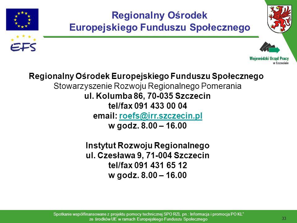 Spotkanie współfinansowane z projektu pomocy technicznej SPO RZL pn.: Informacja i promocja PO KL ze środków UE w ramach Europejskiego Funduszu Społecznego 34 Agnieszka Matusiak Specjalista ds.