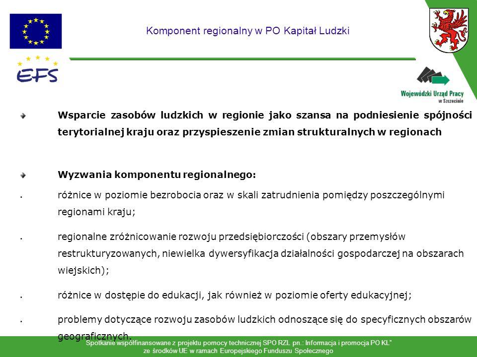 Spotkanie współfinansowane z projektu pomocy technicznej SPO RZL pn.: Informacja i promocja PO KL ze środków UE w ramach Europejskiego Funduszu Społecznego 7 Program Operacyjny Kapitał Ludzki Najważniejsze nowe działania w regionie: Edukacja Integracja społeczna Obszary wiejskie Najważniejsze nowe grupy: Pozostające bez pracy ale nie zarejestrowane w PUP Wykluczeni społecznie