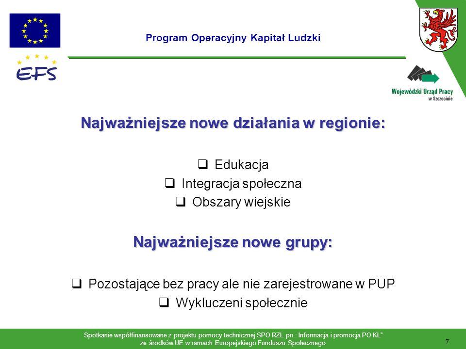 Spotkanie współfinansowane z projektu pomocy technicznej SPO RZL pn.: Informacja i promocja PO KL ze środków UE w ramach Europejskiego Funduszu Społecznego 8 Środki finansowe w ramach PO KL