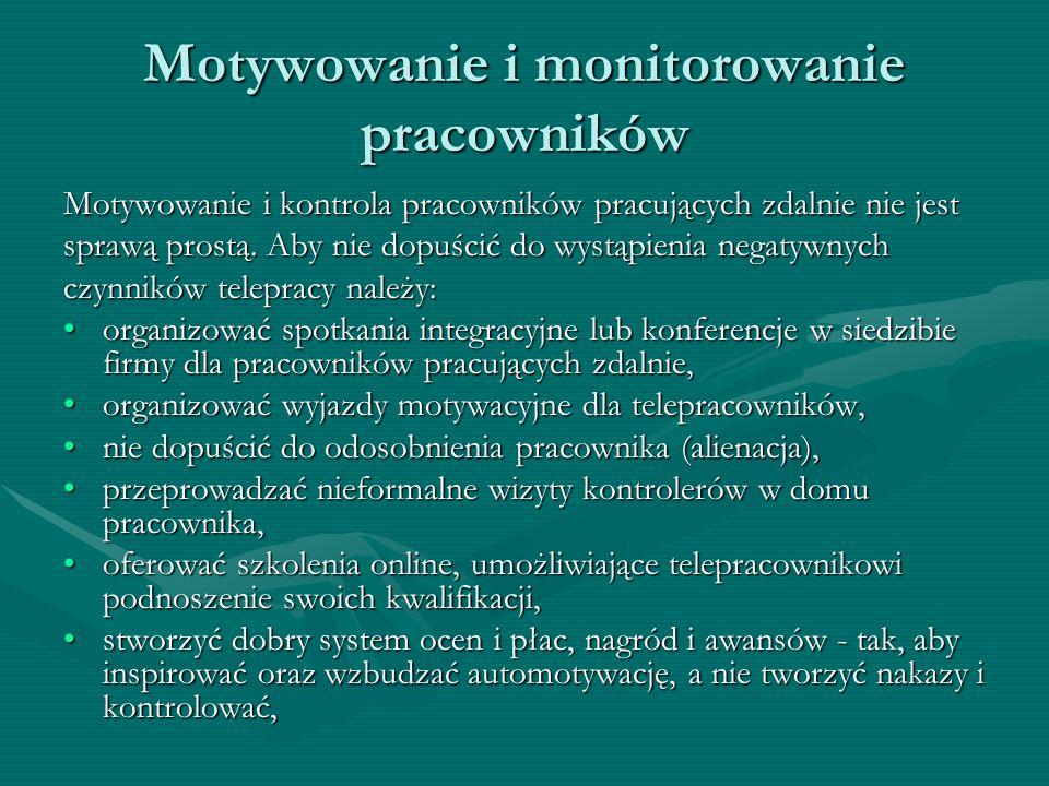 Motywowanie i monitorowanie pracowników Motywowanie i kontrola pracowników pracujących zdalnie nie jest sprawą prostą. Aby nie dopuścić do wystąpienia
