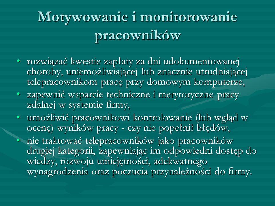 Motywowanie i monitorowanie pracowników rozwiązać kwestie zapłaty za dni udokumentowanej choroby, uniemożliwiającej lub znacznie utrudniającej telepra