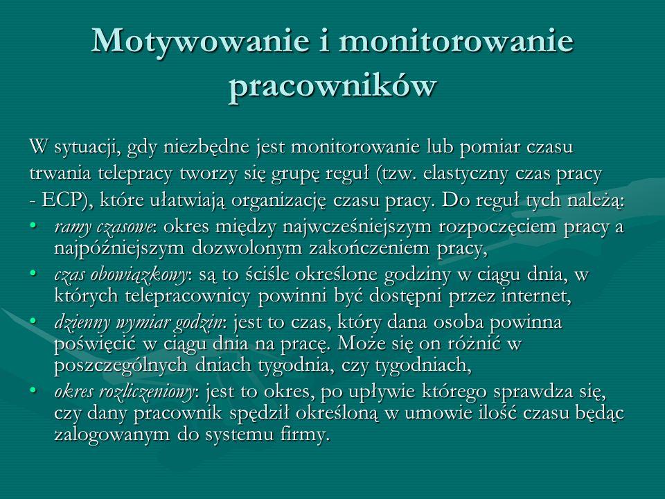 Motywowanie i monitorowanie pracowników W sytuacji, gdy niezbędne jest monitorowanie lub pomiar czasu trwania telepracy tworzy się grupę reguł (tzw. e