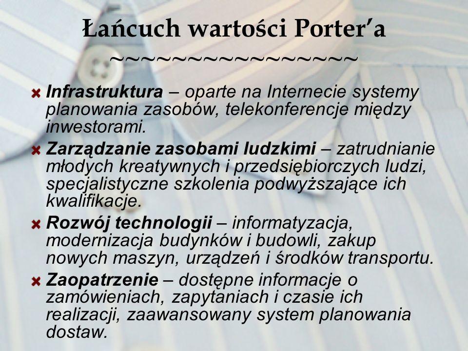 Łańcuch wartości Portera ~~~~~~~~~~~~~~~~ Infrastruktura – oparte na Internecie systemy planowania zasobów, telekonferencje między inwestorami. Zarząd