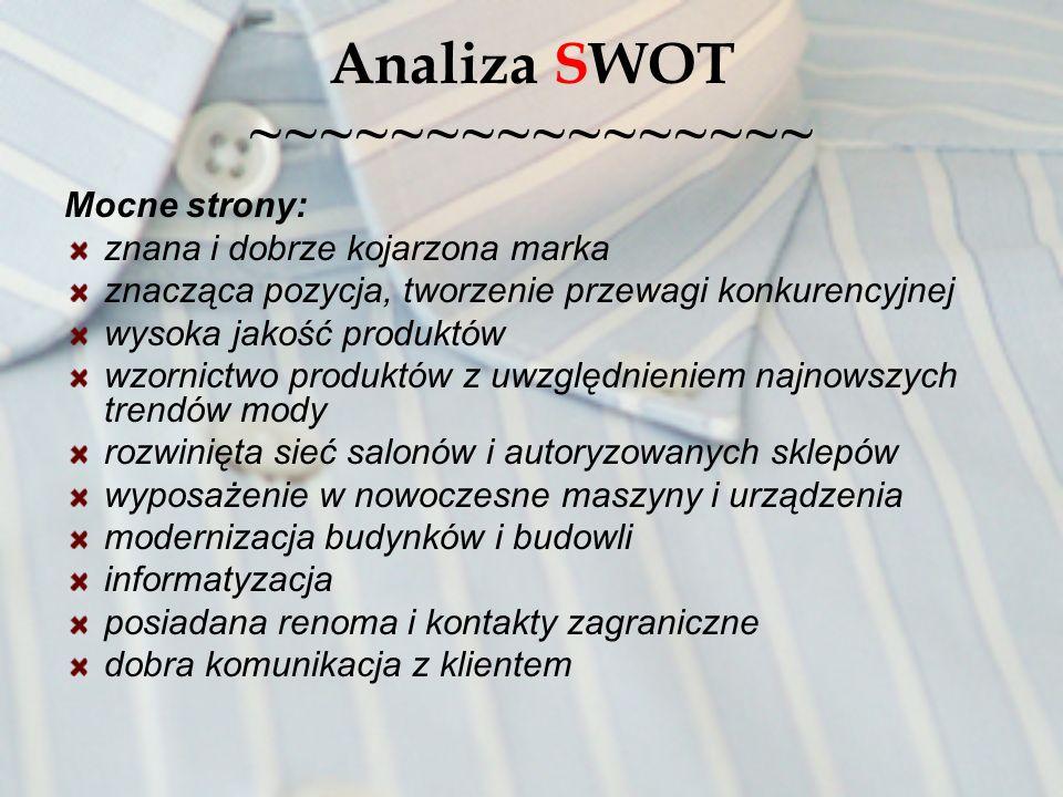 Analiza SWOT ~~~~~~~~~~~~~~~~ Mocne strony: znana i dobrze kojarzona marka znacząca pozycja, tworzenie przewagi konkurencyjnej wysoka jakość produktów