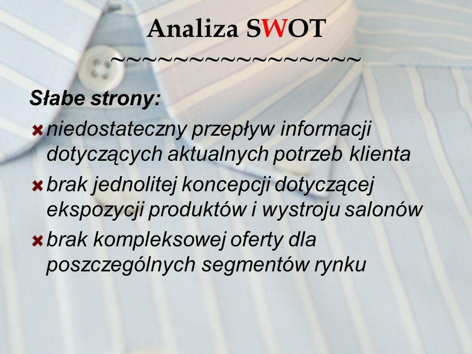 Analiza SWOT ~~~~~~~~~~~~~~~~ Słabe strony: niedostateczny przepływ informacji dotyczących aktualnych potrzeb klienta brak jednolitej koncepcji dotycz