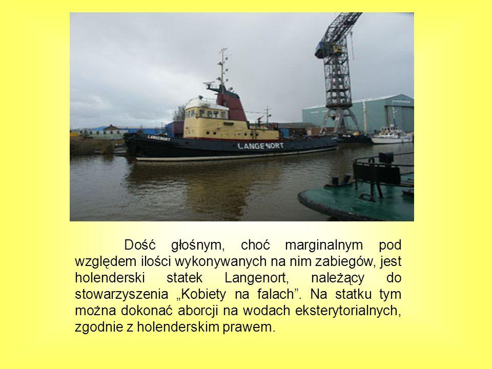 Dość głośnym, choć marginalnym pod względem ilości wykonywanych na nim zabiegów, jest holenderski statek Langenort, należący do stowarzyszenia Kobiety