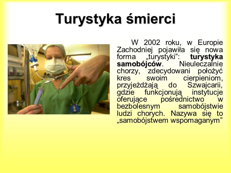 Turystyka śmierci turystyka samobójców W 2002 roku, w Europie Zachodniej pojawiła się nowa forma turystyki: turystyka samobójców. Nieuleczalnie chorzy