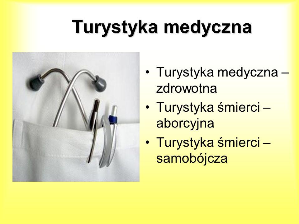 Turystykamedyczna Turystyka medyczna Turystyka medyczna – zdrowotna Turystyka śmierci – aborcyjna Turystyka śmierci – samobójcza