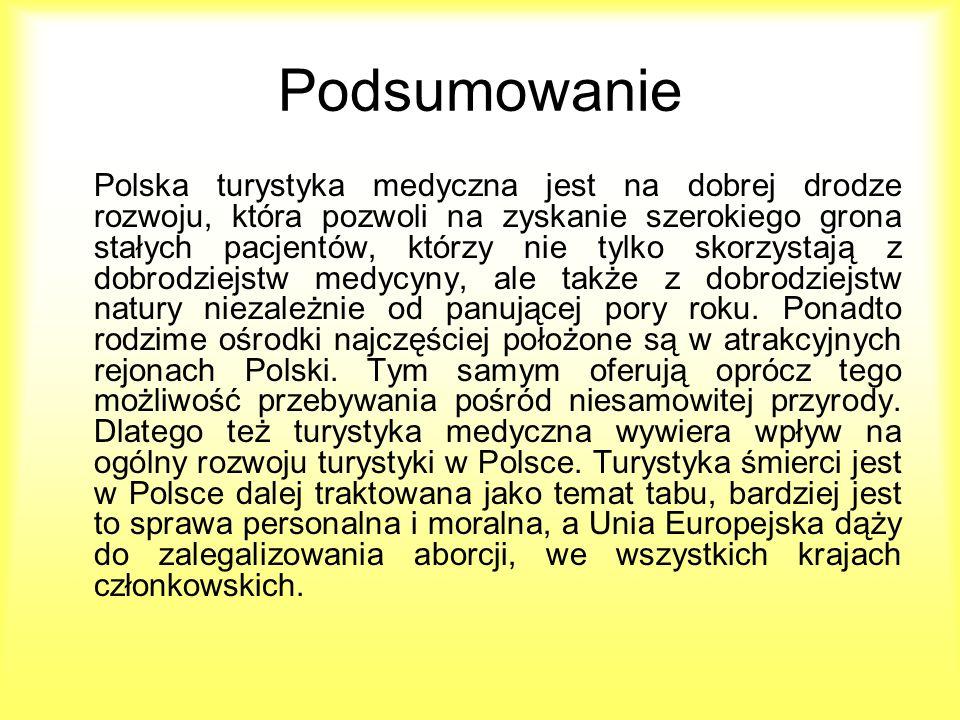 Podsumowanie Polska turystyka medyczna jest na dobrej drodze rozwoju, która pozwoli na zyskanie szerokiego grona stałych pacjentów, którzy nie tylko s