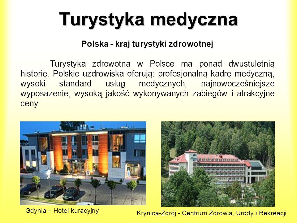 Turystyka medyczna Polska - kraj turystyki zdrowotnej Turystyka zdrowotna w Polsce ma ponad dwustuletnią historię. Polskie uzdrowiska oferują: profesj
