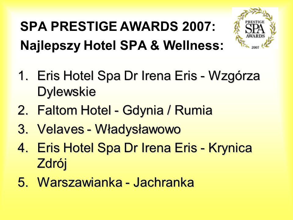 SPA PRESTIGE AWARDS 2007: Najlepszy Hotel SPA & Wellness: 1.Eris Hotel Spa Dr Irena Eris - Wzgórza Dylewskie 2.Faltom Hotel - Gdynia / Rumia 3.Velaves
