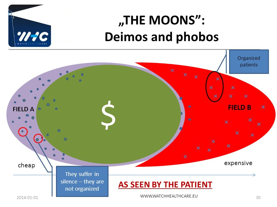 FIELD A FIELD B cheap expensive AS SEEN BY THE PATIENT $ Organized patients They suffer in silence – they are not organized THE MOONS: Deimos and phob