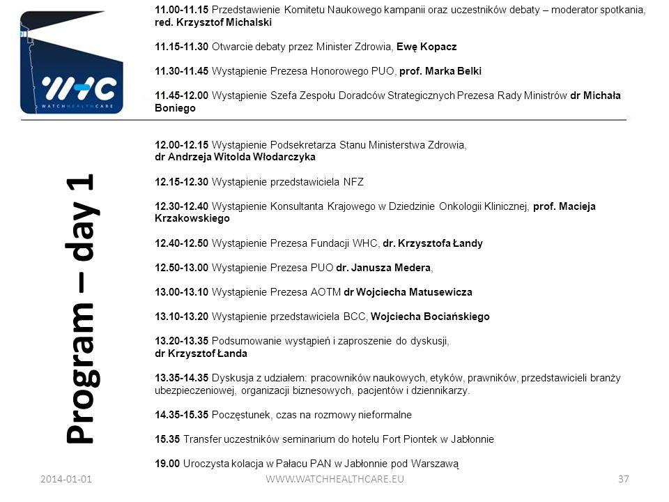 Program – day 1 2014-01-01WWW.WATCHHEALTHCARE.EU37 11.00-11.15 Przedstawienie Komitetu Naukowego kampanii oraz uczestników debaty – moderator spotkani